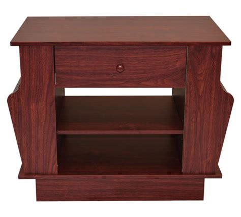 buy end table with magazine rack and storage mahogany