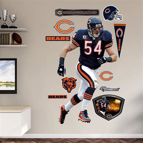 chicago bears wall stickers size brian urlacher wall decal shop fathead 174 for
