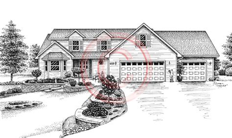 drawing of a house with garage pen and ink artist kelli swan custom portraits of houses