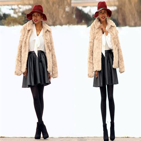 l h m faux fur jacket h m faux leather skater