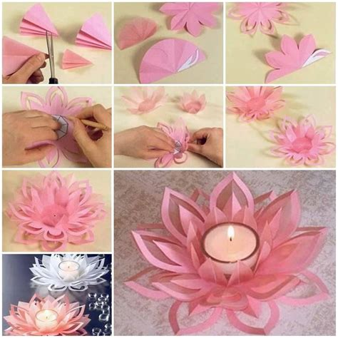 Craft Out Of Paper - learn how to make a paper lotus candle holder find