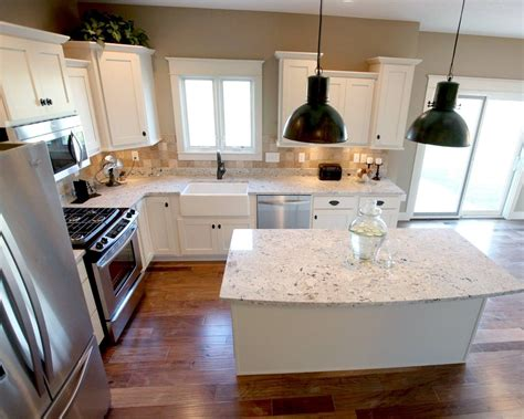 l kitchen island l shaped kitchen layout with an arched overhang on the
