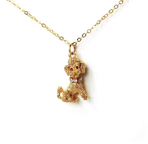 necklace pendants for jewelry vintage poodle golden pendant necklace