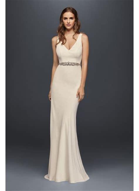 Sale Longdres Crep Kotak jeweled crepe sheath wedding dress with low back davids bridal