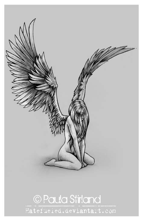 black angel tattoos designs sad by hatefueled on deviantart