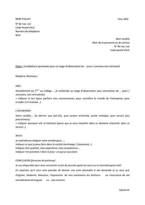 Lettre De Motivation Stage College Lettre De Motivation Stage Le Dif En Questions