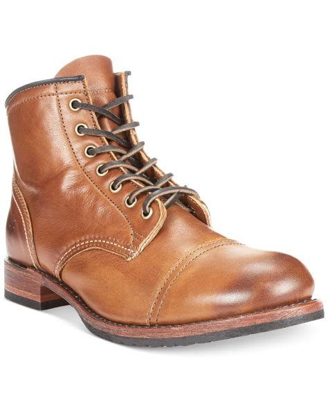 toe boots mens lyst frye logan cap toe boots in brown for