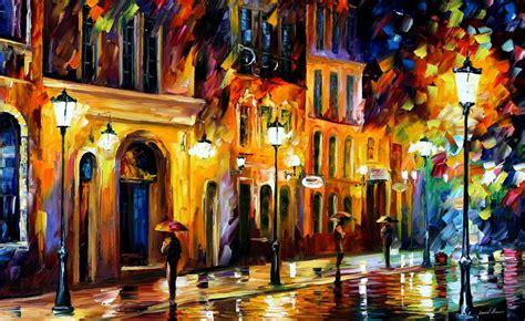 Kanvas Lukis 35 X 50 when the city sleeps palette knife painting on