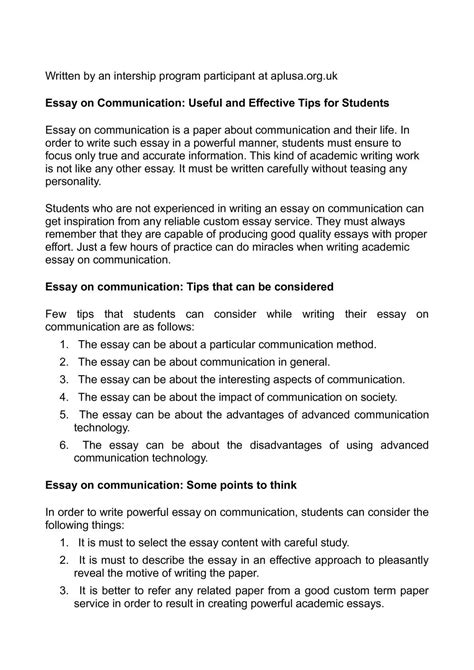 Effective Communication Essay by Calam 233 O Essay On Communication Useful And Effective Tips For Students
