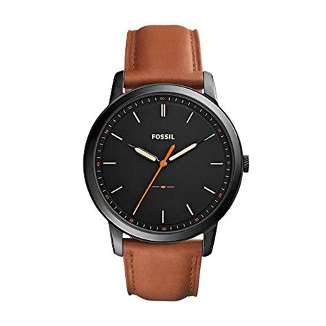 fossil idealist light brown leather watch fossil men s fs5305 the minimalist three hand light brown
