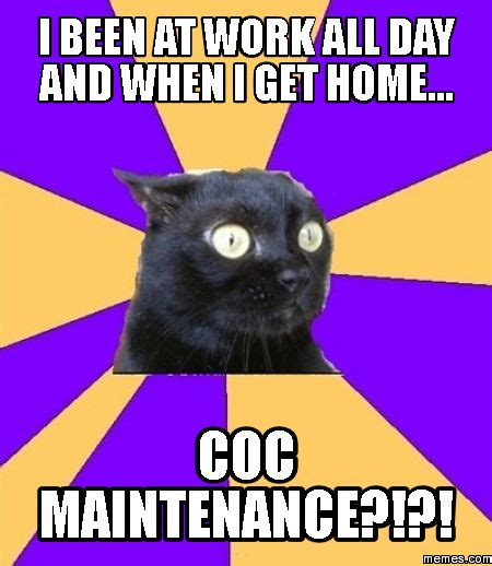 i been at work all day and when i get home coc memes