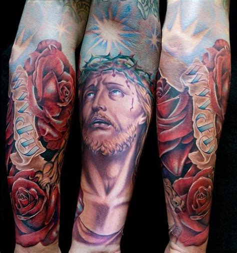 religious tattoo history arm flower religious tattoo by cecil porter