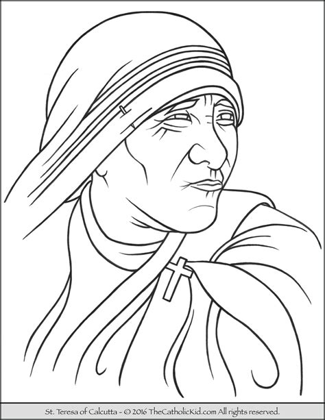 saint teresa of calcutta coloring page thecatholickid com
