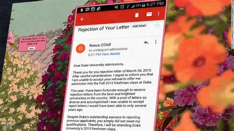 Duke Rejection Letter 17 Year Rejects Duke S Rejection Letter Apr 3 2015
