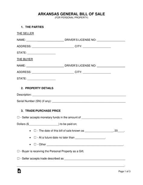 boat bill of sale arkansas free arkansas general bill of sale form pdf word