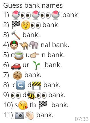 emoji riddles guess bank names whatsapp emoji quiz whatsapp puzzles