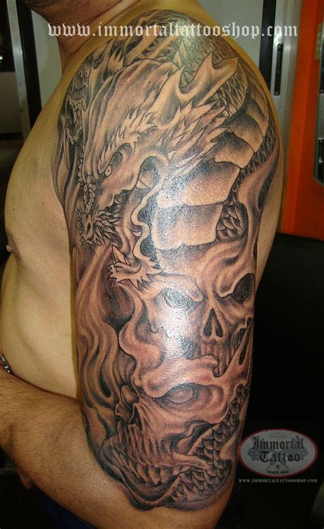 japanese half sleeve tattoos for men grey ink asian half sleeve for