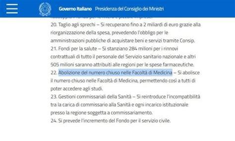 abolizione test ingresso abolito il numero chiuso a medicina il governo conferma