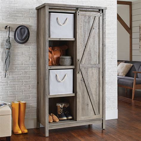 barn door storage cabinet better homes and gardens modern farmhouse storage cabinet