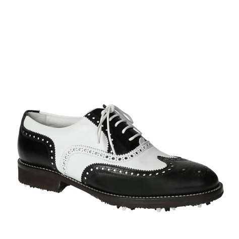 Handmade Leather Golf Shoes - handmade golf shoes black white leather wingtip brogues