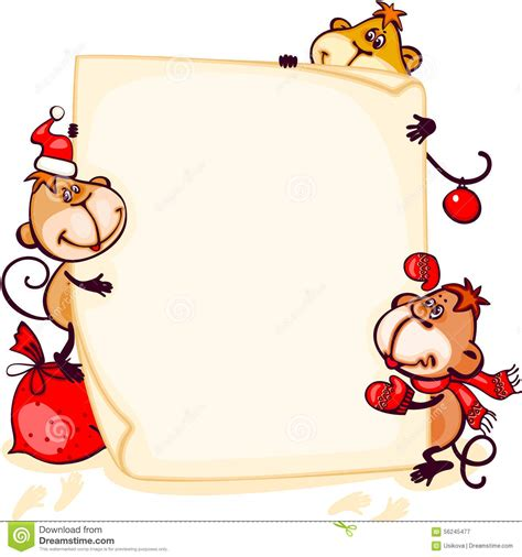 new year monkey border banner 2016 monkey stock vector image 56245477