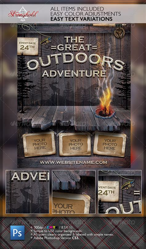 Vintage Outdoor Cing Adventure Flyer By Getstronghold Graphicriver Outdoor Flyer Template