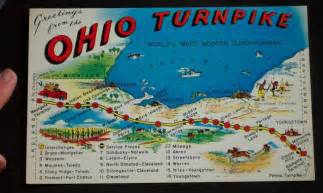 Ohio Turnpike Map by 1950s Extra Large Postcard Ohio Turnpike Map Exits Oh Ebay