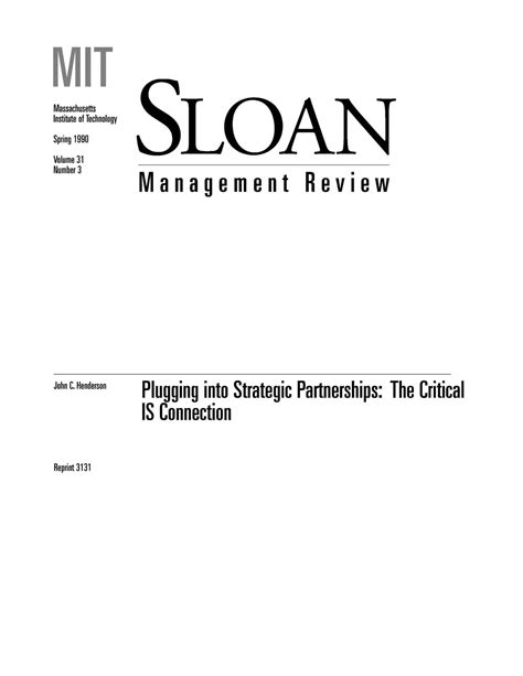Plugging into Strategic Partnerships: The Critical IS