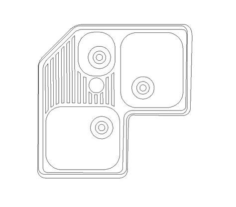 Free CAD block Corner kitchen sink   cadblocksfree  CAD