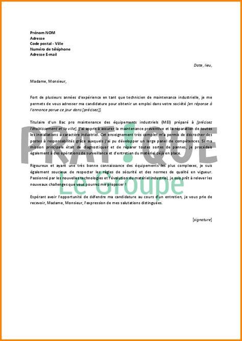 lettre de motivation technicien de maintenance contrat