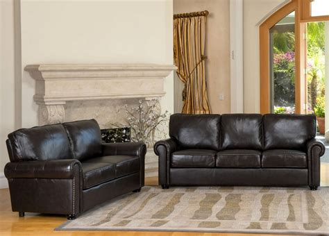 abbyson living top grain leather sofa and seat set