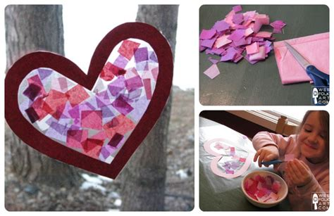 Paper Craft Valentines - craft tissue paper stained glass wee