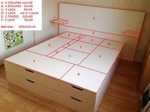 Queen Size Platform Bed Building Plans by Lit Ikea Diy Pour Stockage Plateforme Bidouilles Ikea
