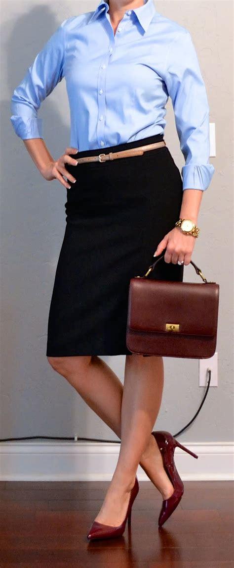post blue button shirt black pencil skirt