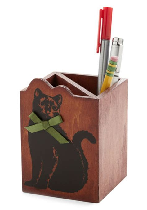 Cat Ch All Desk Organizer Mod Retro Vintage Desk Cat Desk Accessories