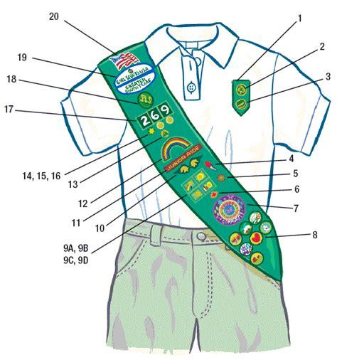 scout junior sash diagram patch placement scouts mandy miller