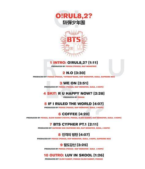 Bts Song List | my kpop idols bts tracklist