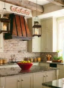 brown color painted faux brick kitchen