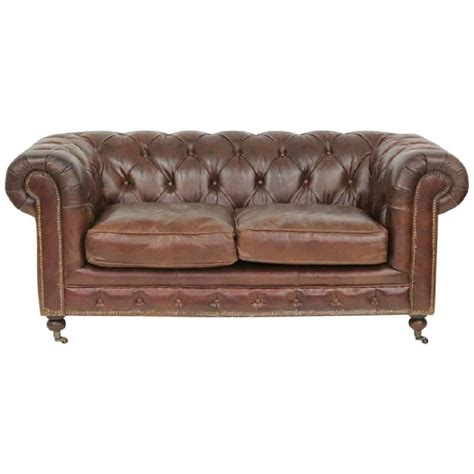 Brown Tufted Leather Chesterfield Sofa For Sale At 1stdibs Brown Tufted Leather Sofa