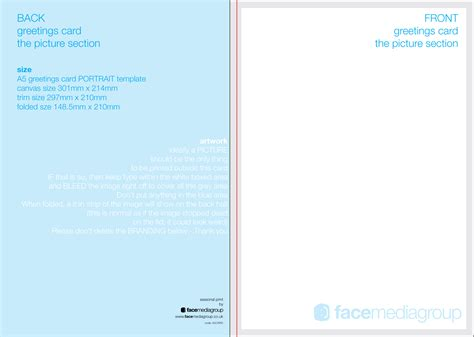 a5 folded card template free blank greetings card artwork templates for