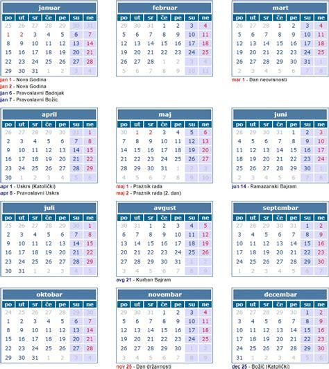 Verski Kalendar 2018 Kalendar Sa Neradnim Danima U Bih 2018 Pravoslavni