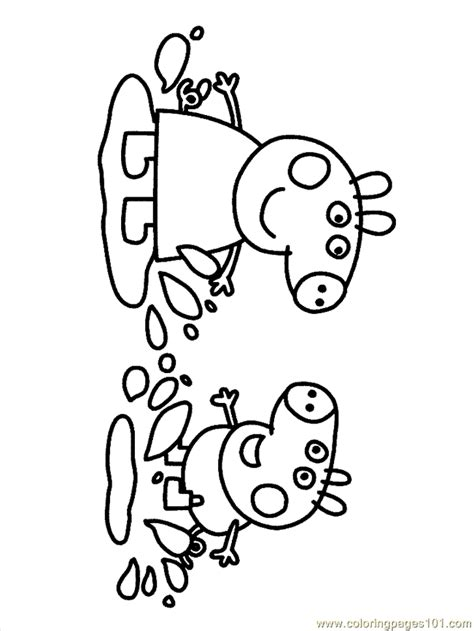 colouring pictures of peppa pig and george peppa george in muddy puddle coloring page coloring
