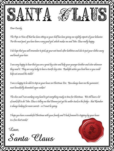 Official Letter From Santa Santa Letterhead Printable Inspiration Made Simple