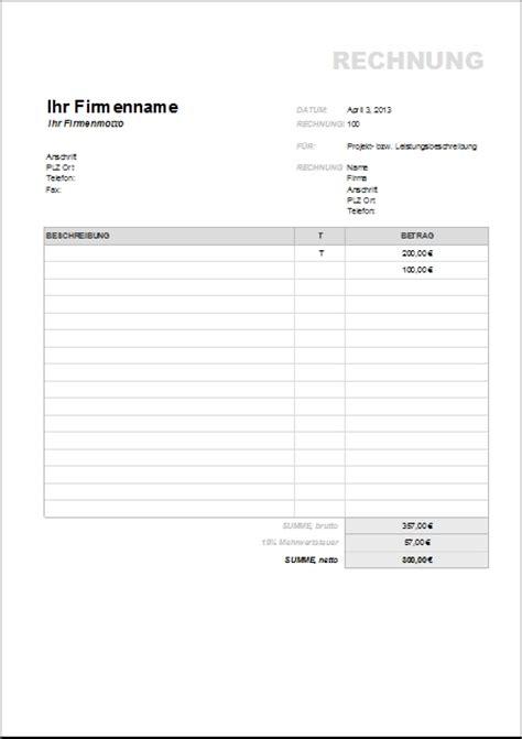 Rechnung Kleinunternehmer Brutto Netto Rechnungsvorlagen Und Muster Zum Herunterladen Office Lernen