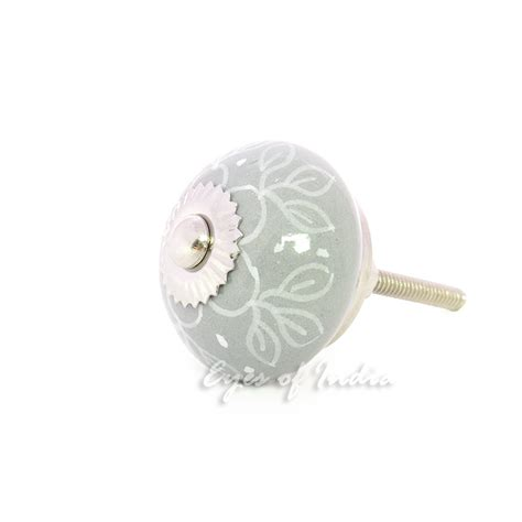 decorative knobs and pulls gray grey decorative ceramic cupboard door dresser cabinet
