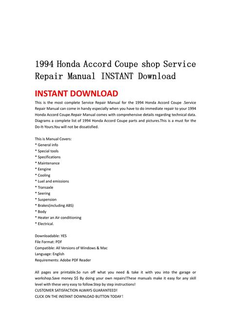 how to download repair manuals 1994 honda prelude lane departure warning 1994 honda accord coupe shop service repair manual instant download by lin leiww issuu