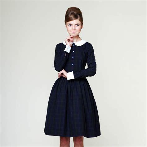 liana woolen tartan dress with pleated skirt by mrs