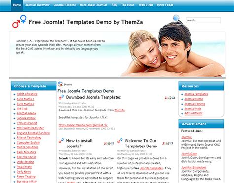 dating template sweethearts club free joomla 1 5 template by themza