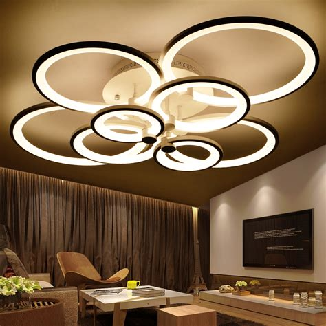 Living Room Lighting Modern Aliexpress Buy Rings White Finished Chandeliers Led