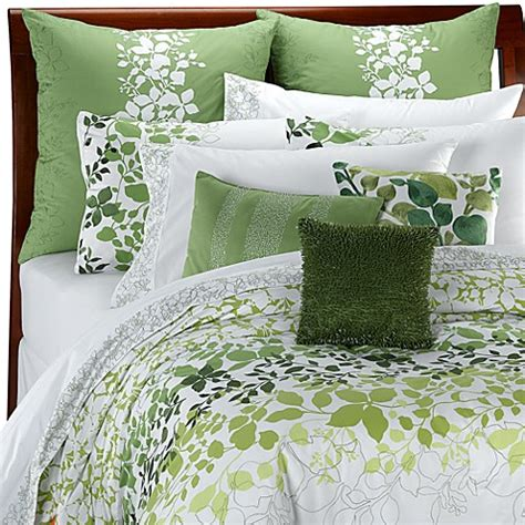white comforter with green leaves camilla duvet cover by kas 100 cotton bed bath beyond
